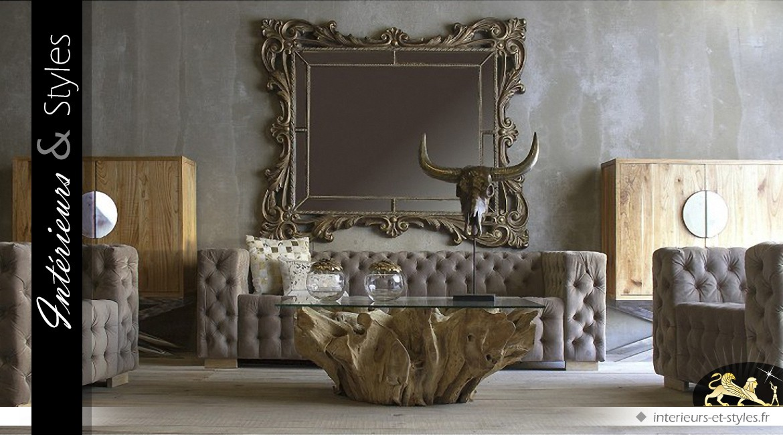 Très grand miroir doré à parcloses de style baroque 189 cm
