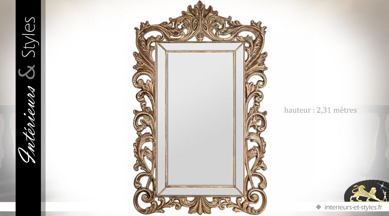 Grand miroir baroque à parcloses encadrement ajouré 231 cm