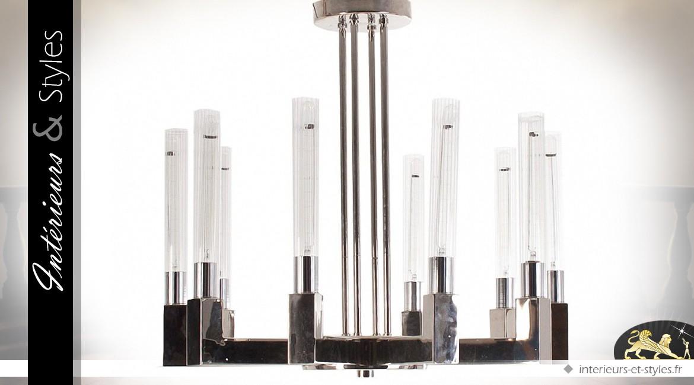 Suspension design en métal argenté à 10 points lumineux Ø 79 cm
