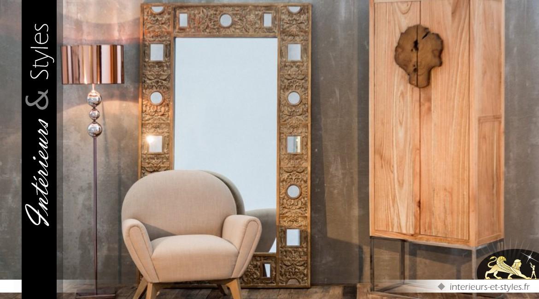 Grand miroir rectangulaire style Art Déco finition bois doré 199 cm
