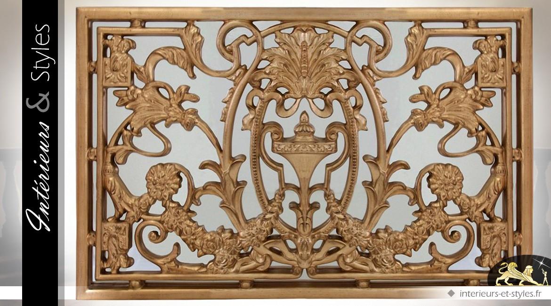 Miroir rectangulaire horizontal à décor baroque doré 168 cm