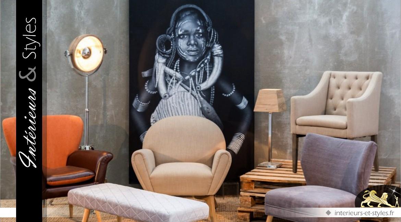 grand tableau sur toile femme africaine en noir et blanc 180 cm int rieurs styles. Black Bedroom Furniture Sets. Home Design Ideas