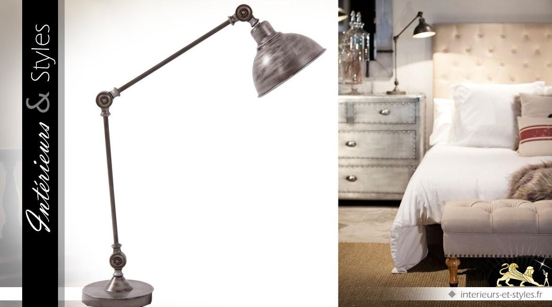 Grande Lampe Industrielle Articulee Gris Acier Vieilli 89 Cm