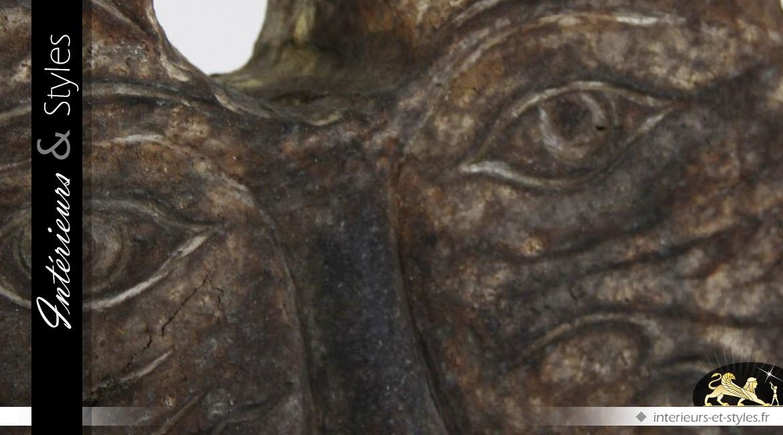 Sculpture sur socle Neptune en bois tropical 74 cm