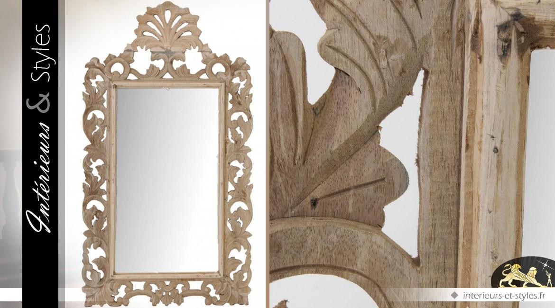 miroir baroque bois naturel ajour scupt 140 cm int rieurs styles. Black Bedroom Furniture Sets. Home Design Ideas