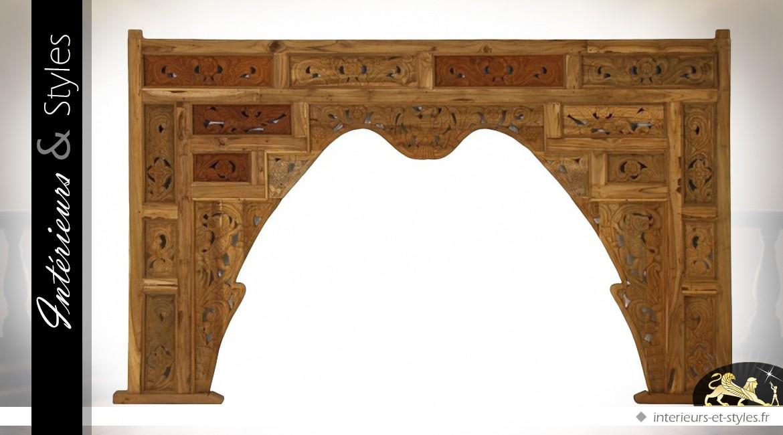 Ornementation haut de fenêtre ou de porte en teck sculpté 246 cm