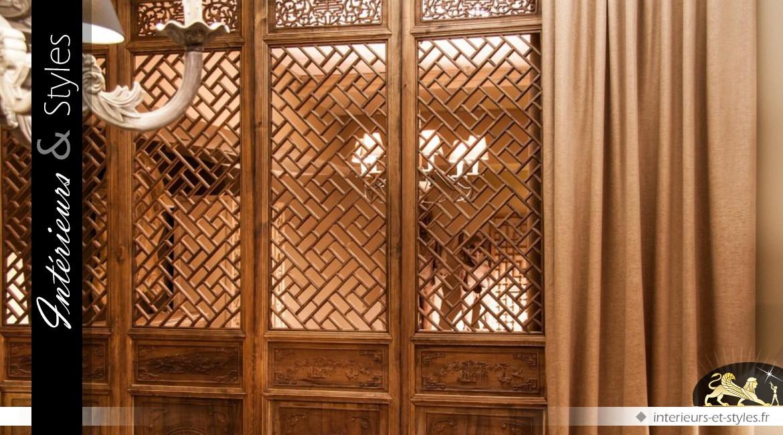 Battant de porte décoratif en orme et de style oriental 208 cm