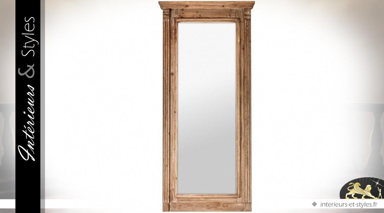 Grand miroir r tro et rustique bois naturel 180 cm int rieurs styles for Grand miroir bois brut