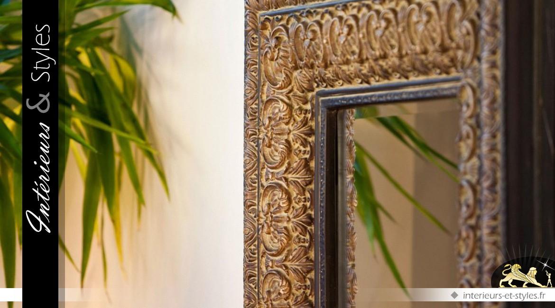 Miroir mural rectangulaire rendu bronze dor oriental 140 for Miroir dore rectangulaire
