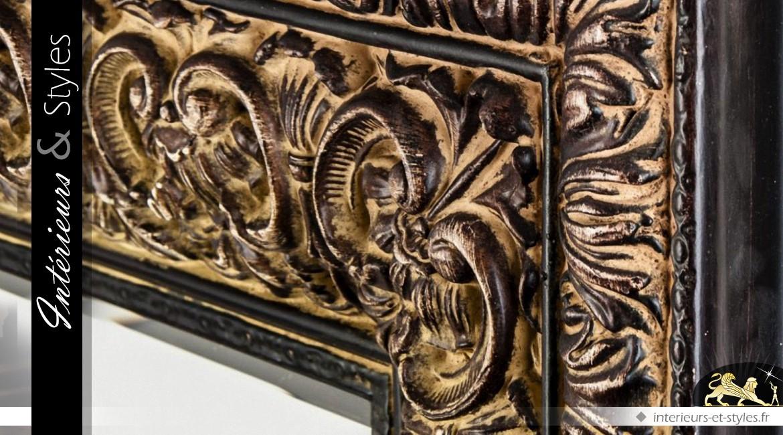 Miroir mural rectangulaire rendu bronze doré oriental 140 cm