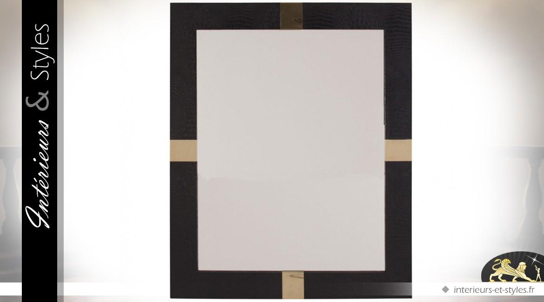 Miroir design rectangulaire similicuir noir et métal doré brillant
