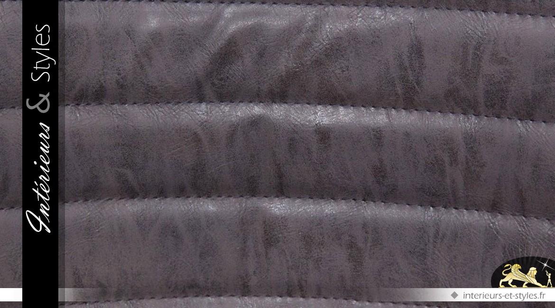 Chaise vintage et design en métal et similicuir marron
