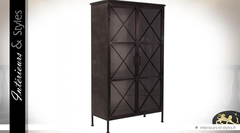 vitrine armoire noire style industriel croisillons 142 cm int rieurs styles. Black Bedroom Furniture Sets. Home Design Ideas