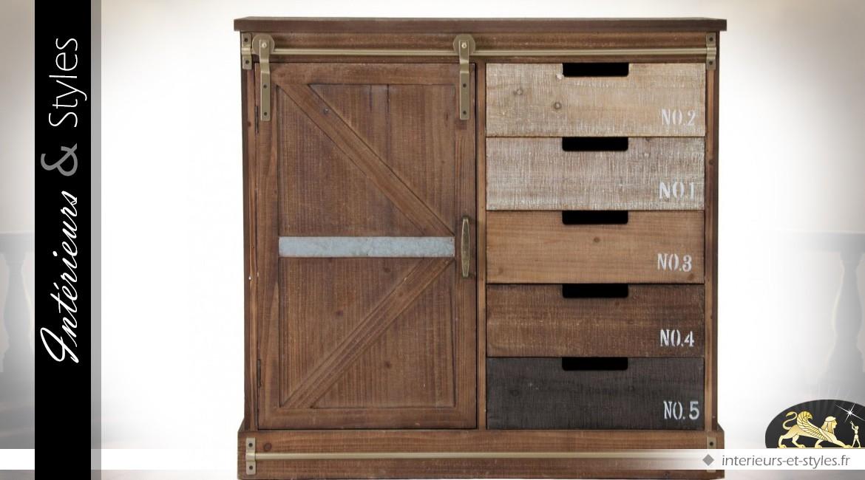 buffet industriel bois et m tal 1 porte et 5 tiroirs. Black Bedroom Furniture Sets. Home Design Ideas
