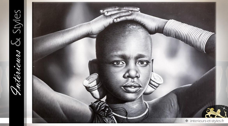 portrait noir et blanc peinture l 39 huile jeune africain. Black Bedroom Furniture Sets. Home Design Ideas