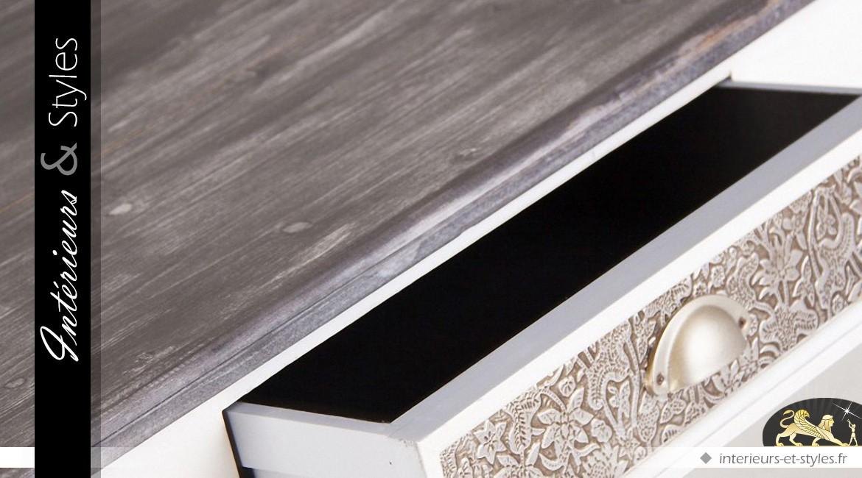 Table de salle à manger patine blanche et grise 160 cm ...