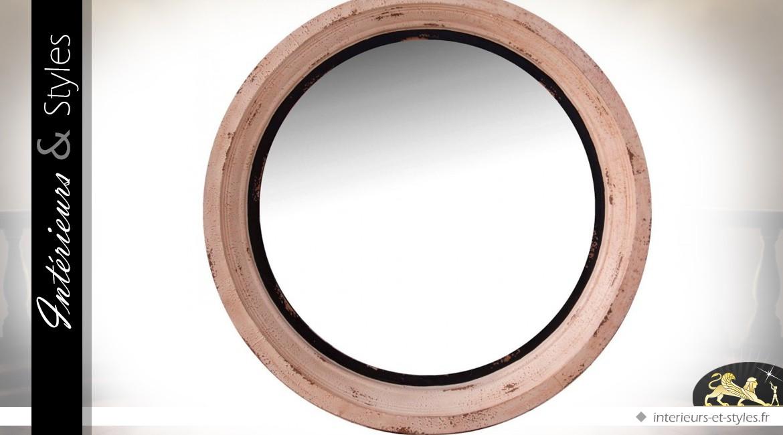 Grand miroir rond en bois massif et m tal 89 cm for Grand miroir metal