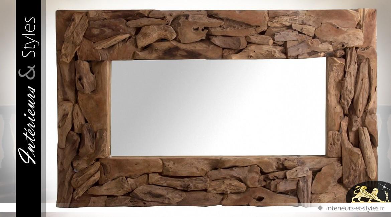 Grand miroir rustique en teck recycl 160 x 100 cm int rieurs styles for Grand miroir bois brut
