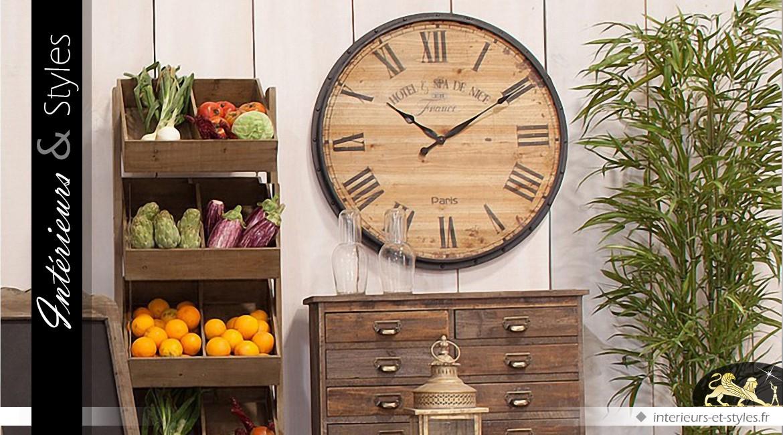 grande horloge ronde en bois de sapin de style r tro 80. Black Bedroom Furniture Sets. Home Design Ideas