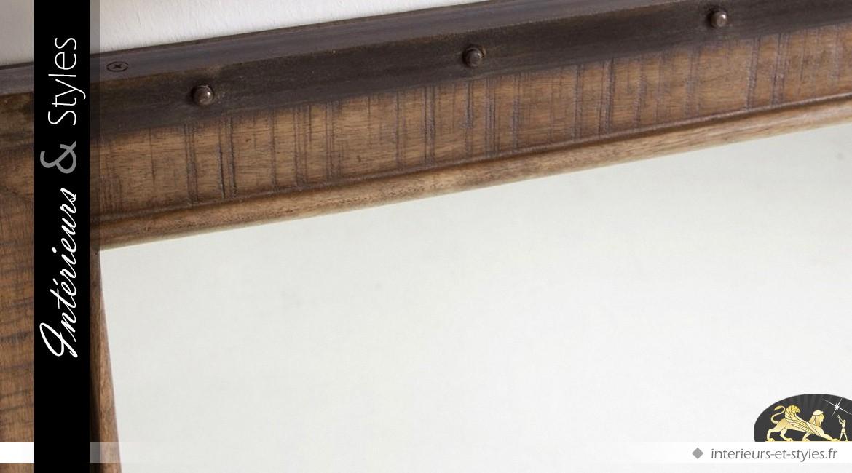 Miroir carré style industriel et rustique manguier et métal
