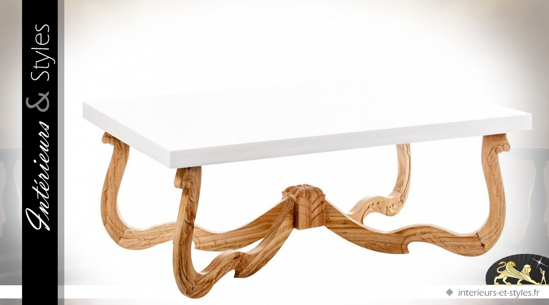 Table basse blanche design et exotique en mindi massif