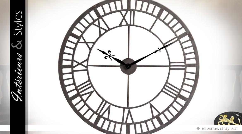 Grande horloge en m tal style fer forg antique gris for Grande horloge murale fer forge