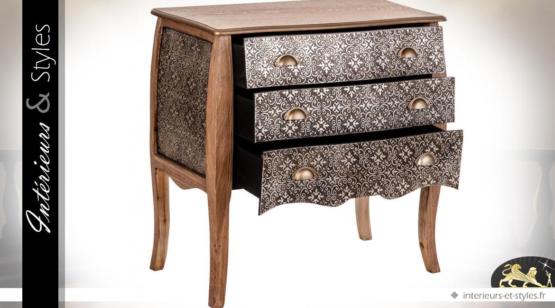 commode marocaine 3 tiroirs bois cir et m tal noir et argent int rieurs styles. Black Bedroom Furniture Sets. Home Design Ideas
