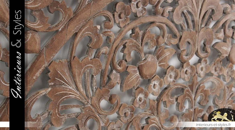 panneau mural sculpt motifs orientaux effet bois ancien 100 x 100 cm int rieurs styles. Black Bedroom Furniture Sets. Home Design Ideas