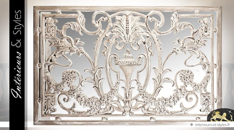Panneau décoratif mural patine blanc antique fond en miroir
