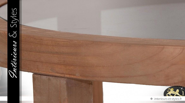 Duo De Tables Basses Rondes Design En Bois De Sapin Et Verre
