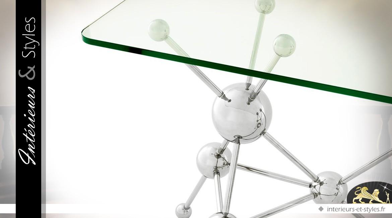 Console design en acier poli chrome/verre Galileo 160 cm