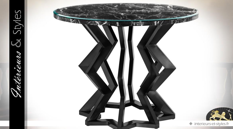 Table Ronde Design Finition Bronze Et Marbre Noir ø 101 Cm