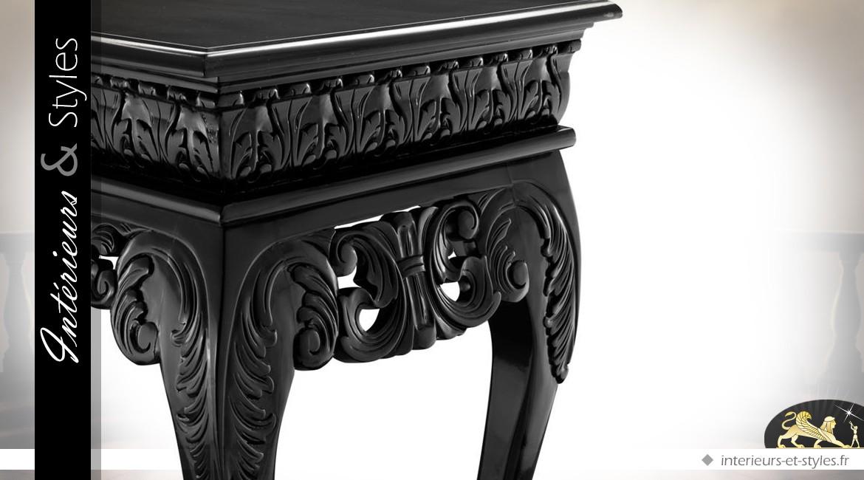 Console baroque en acajou finition noire cirée 152 cm