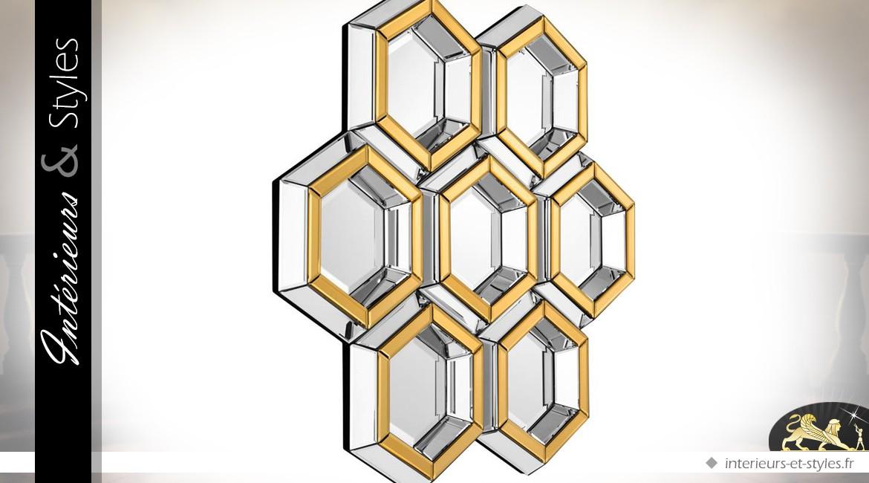 Miroir design nid d 39 abeilles en m tal dor et argent for Miroir secondaire