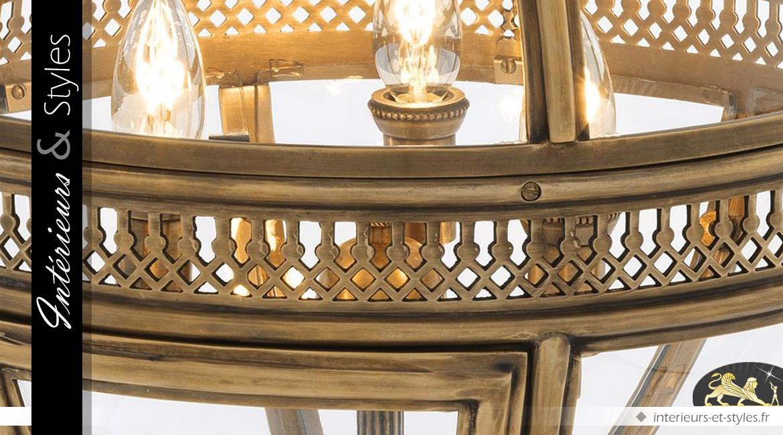 Luxueuse lampe sphérique en laiton doré ancien 82 cm