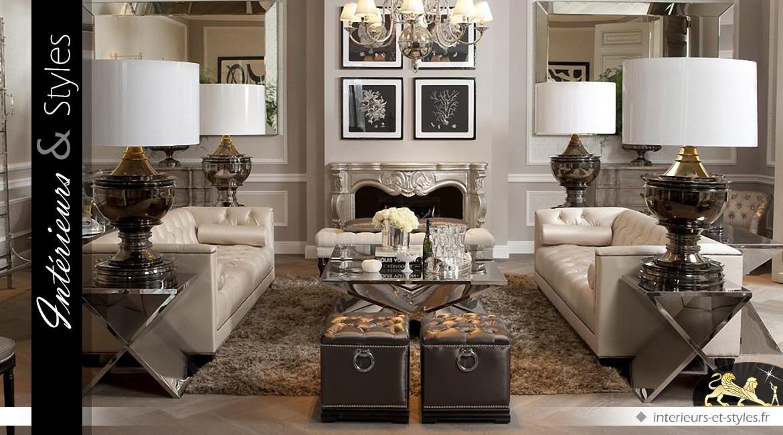 Table basse design en acier inoxydable poli et verre trempé