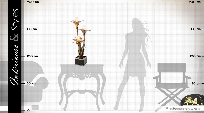 Lampe de salon en laiton doré en forme de palmiers 74 cm