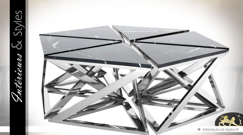 Table basse design hexagonale marbre et métal chromé Ø 141 cm