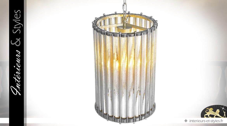 Suspension cylindrique vieil argent et verre sculpté main 53 cm