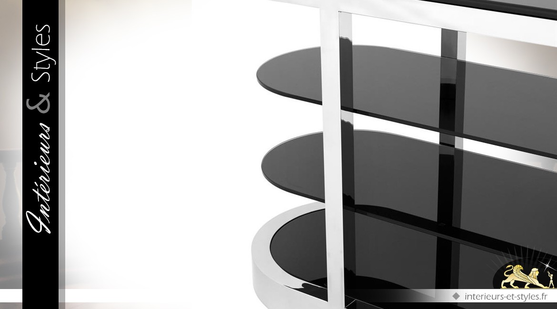 Console design inox argent poli et verre noir 180 cm