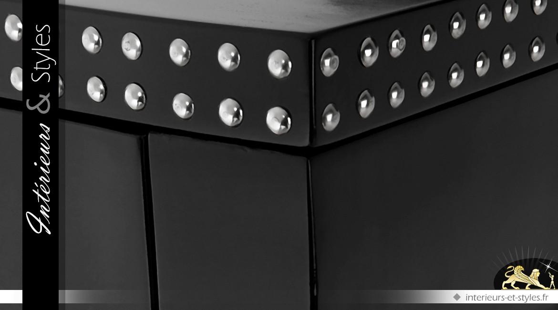 Console noire de style Louis XV avec 3 tiroirs
