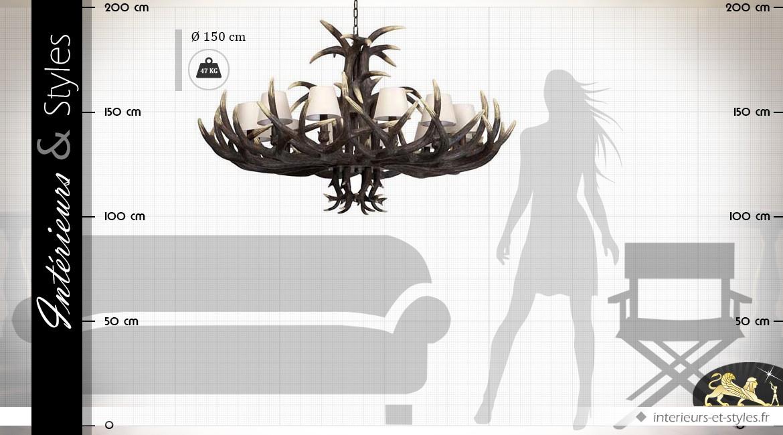 lustre rustique bois de certs 12 points de lumi re 150 cm int rieurs styles. Black Bedroom Furniture Sets. Home Design Ideas
