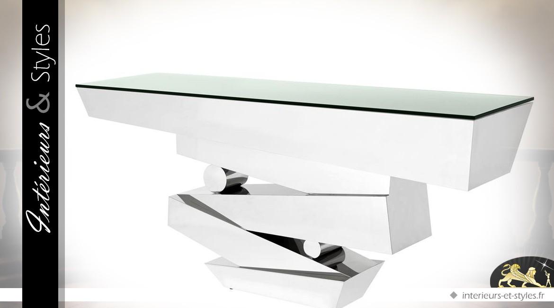 Grande console design en inox poli et verre trempé 180 cm