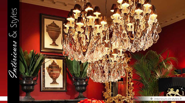Grand lustre à pampilles laiton ancien 18 points lumineux Ø 90 cm