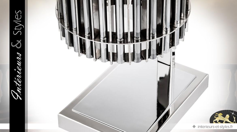 Lampe design cylindrique nickel argenté et verre 66 cm