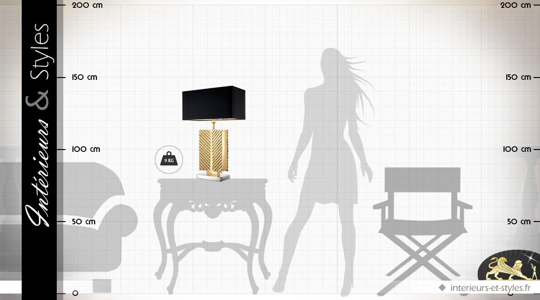Lampe luxueuse et design noir et or 61,5 cm