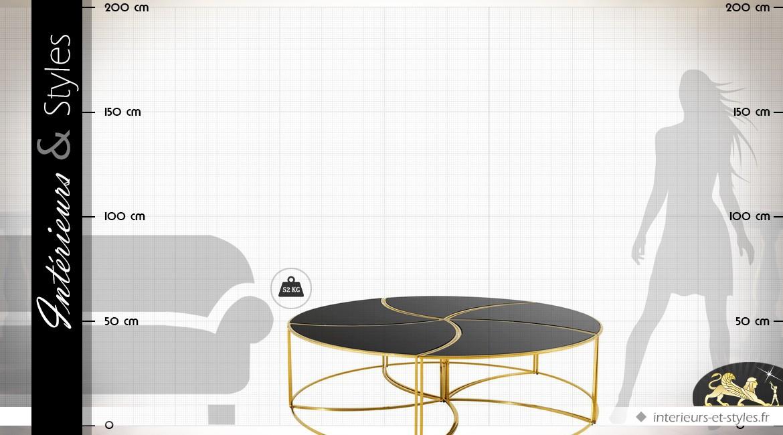 Grande table basse ronde design en métal doré et verre noir