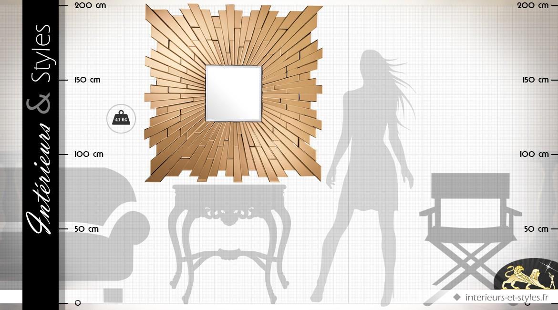 Grand miroir mural design multifacettes doré cuivré 120 x 120 cm