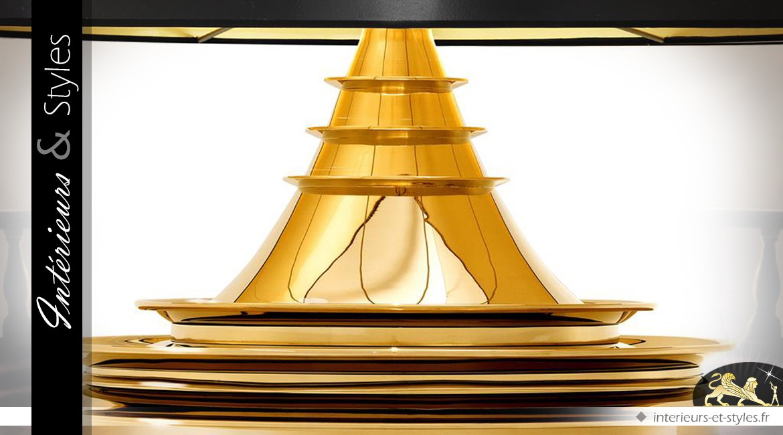 Trés grande lampe de salon noir et or 120 cm