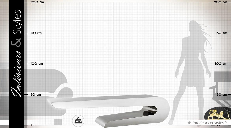 Grande table basse design en acier inoxydable argenté 190 cm